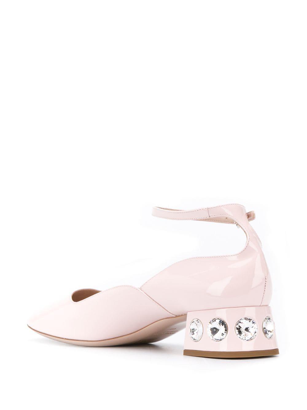Zapatos de tacón Mary Jane con strass Miu Miu de Cuero de color Rosa