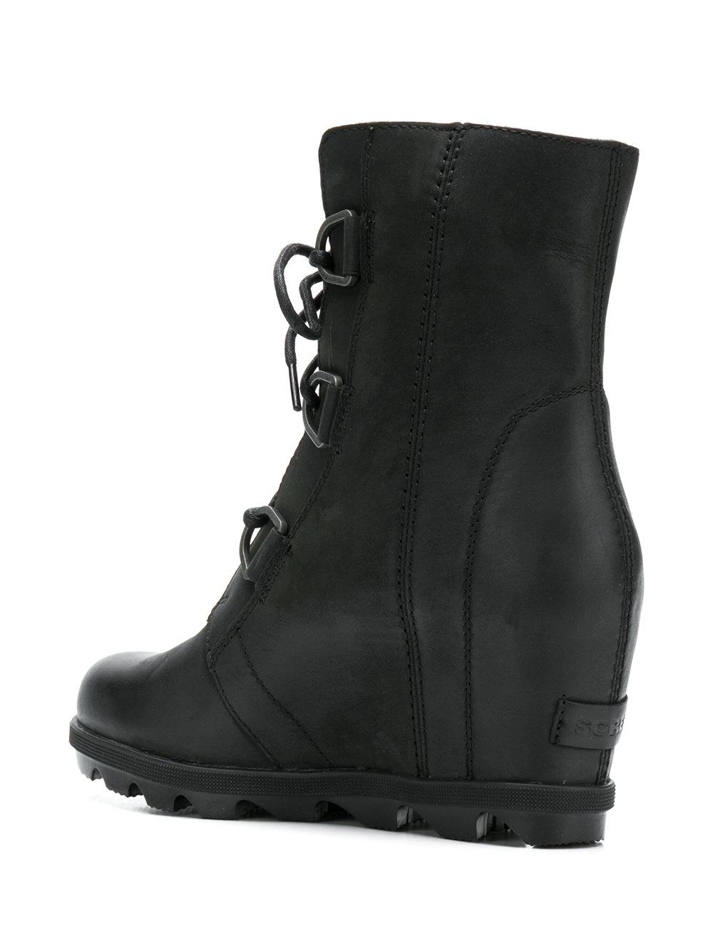 Sorel Leather Ankle Lace-up Boots in Black