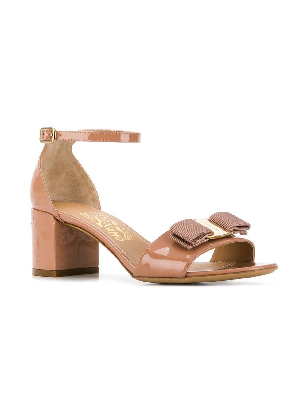 6dd1726fd0e6 Lyst - Ferragamo Vara Bow Ankle Strap Sandals