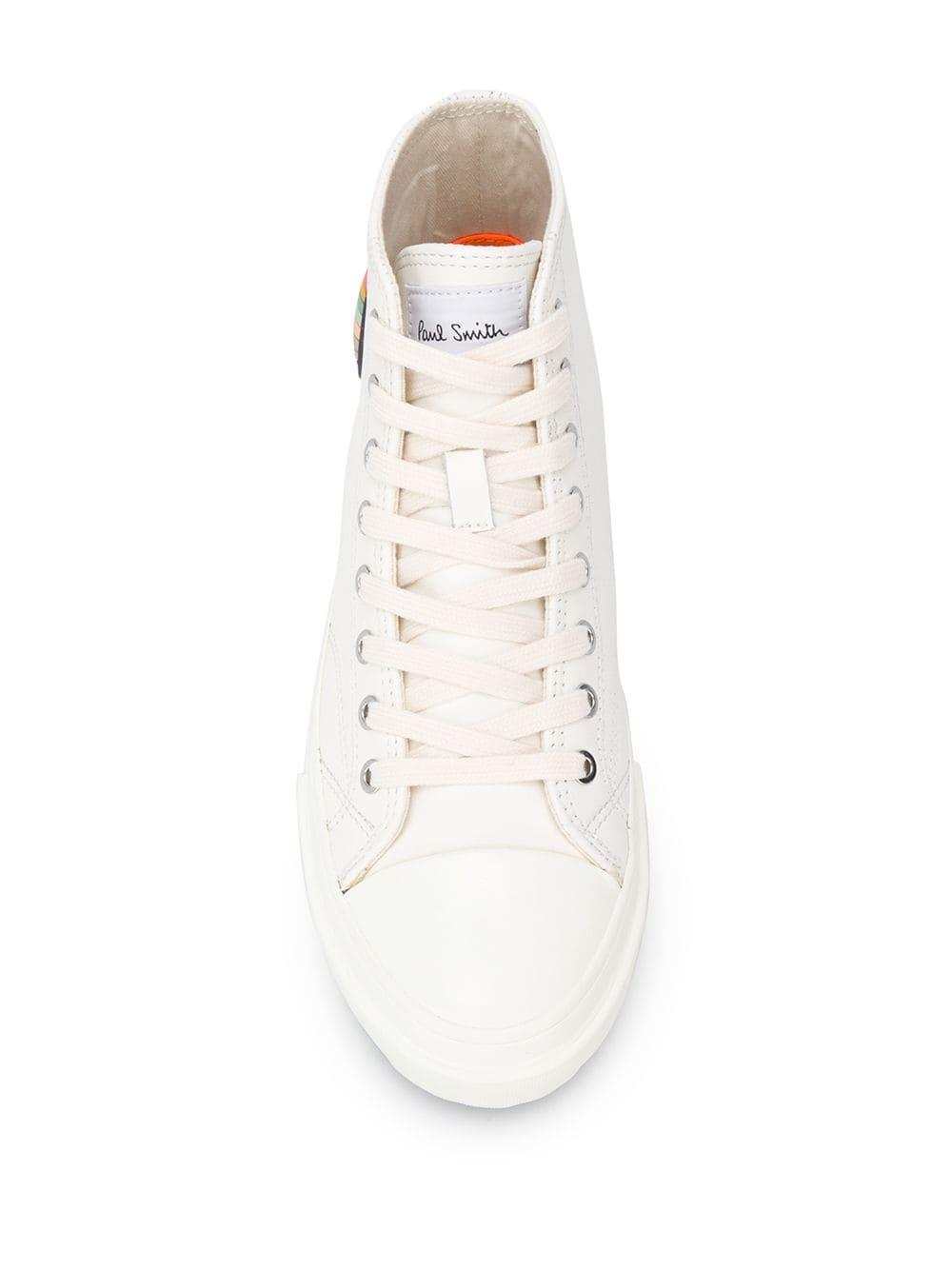 Zapatillas altas con parche de logo Paul Smith de Cuero de color Blanco