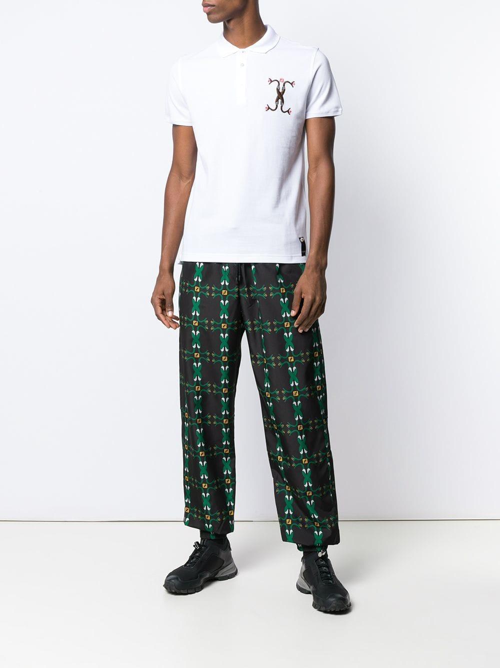 5b2ebaaa7f1 Fendi Snake-embroidered Polo Shirt in White for Men - Lyst