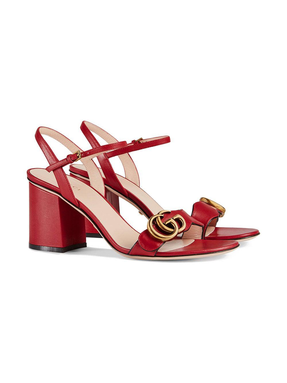 3d8d715d968 Gucci Leather Mid-heel Sandals in Red - Save 20% - Lyst