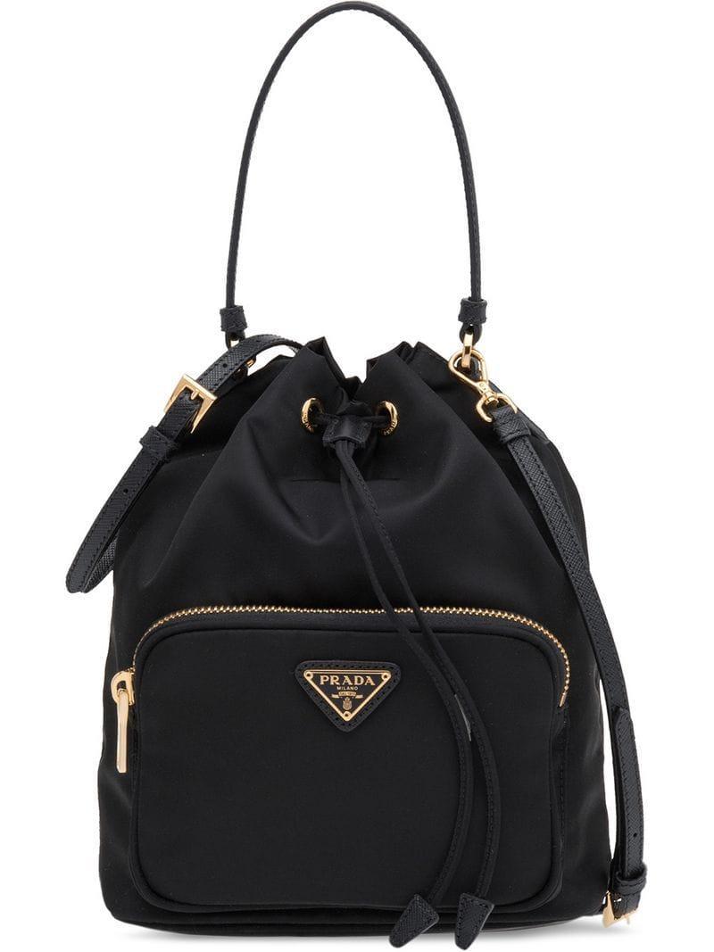 e08bfea5fe82 Prada - Black Fabric Bucket Bag - Lyst. View fullscreen