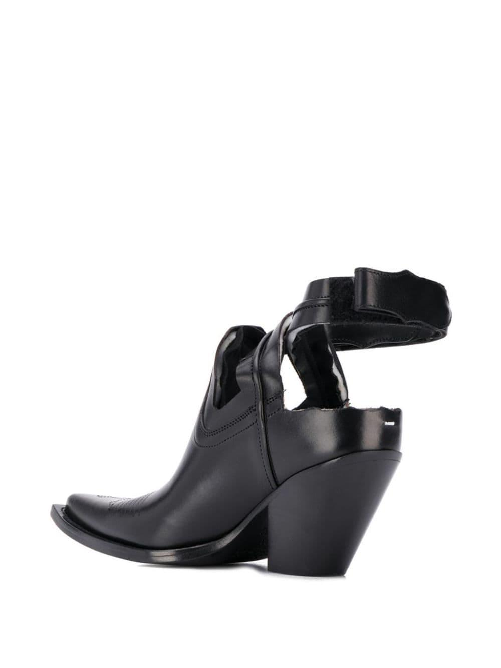 Maison Margiela Leather Texan Cut-out Ankle Boots in Black