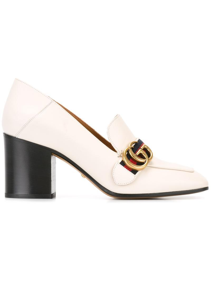 1d353b67e0c Lyst - Gucci - Gg Web Mid-heel Loafer Pumps - Women - Leather - 39 ...