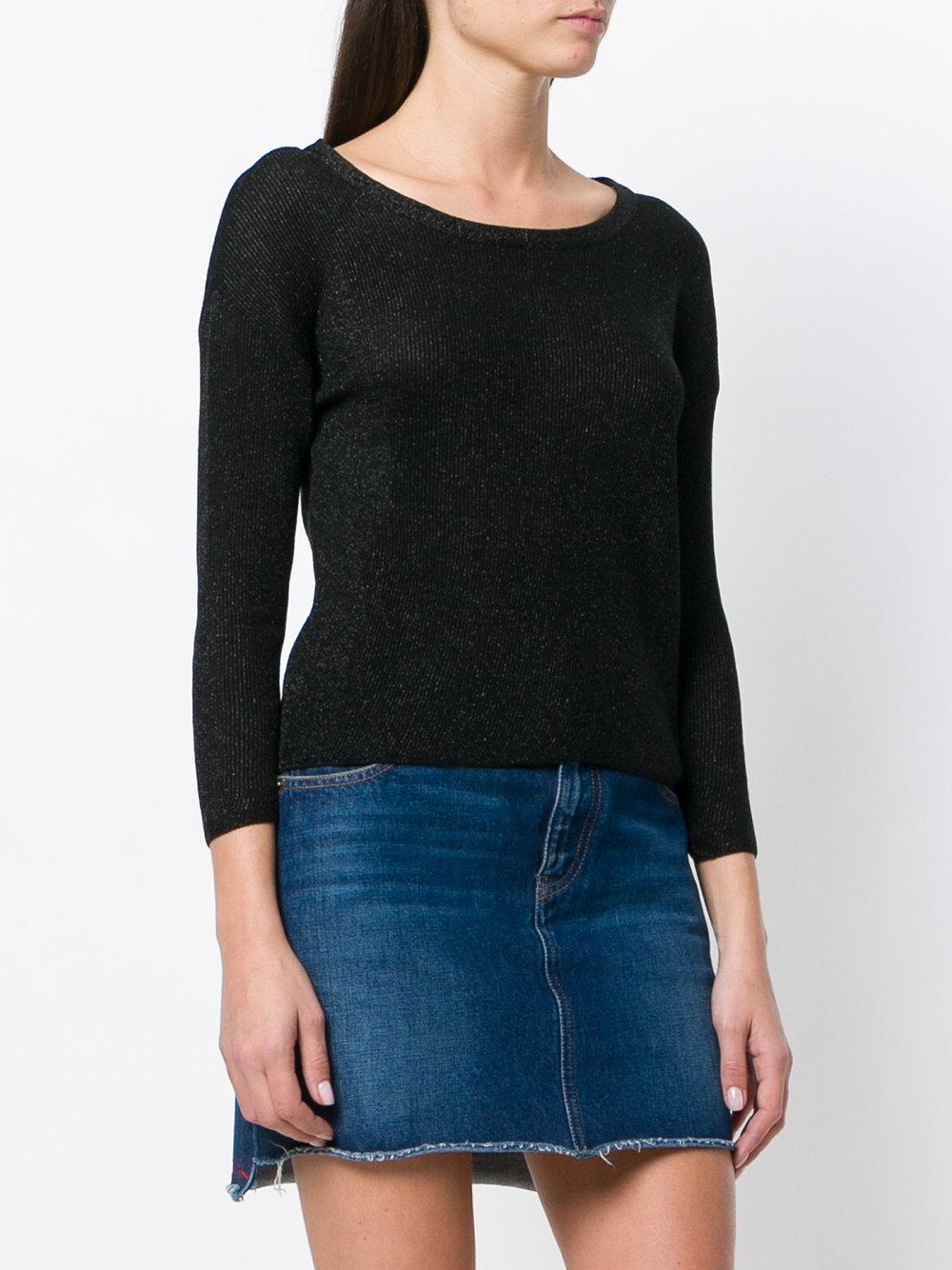 Moschino Cotton Ribbed Knit Top in Black