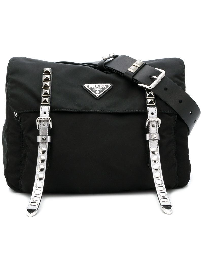 1400c8d081f7c Prada Studded Belt Bag in Black - Lyst
