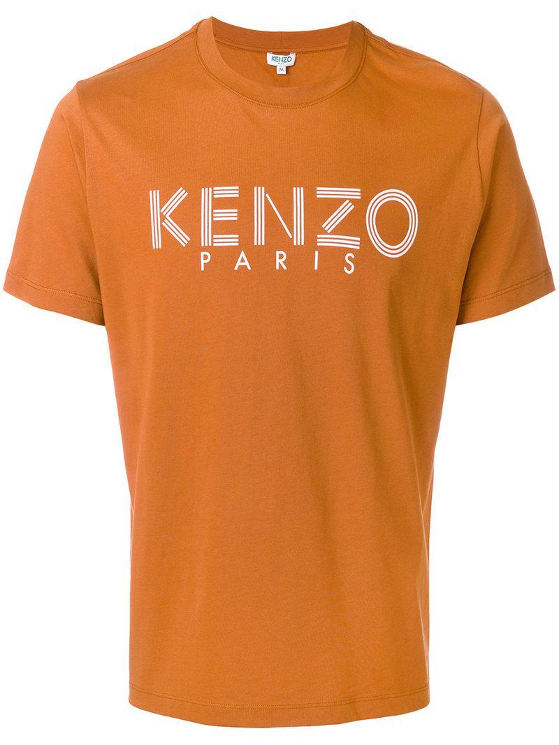 lyst kenzo logo t shirt in orange for men. Black Bedroom Furniture Sets. Home Design Ideas