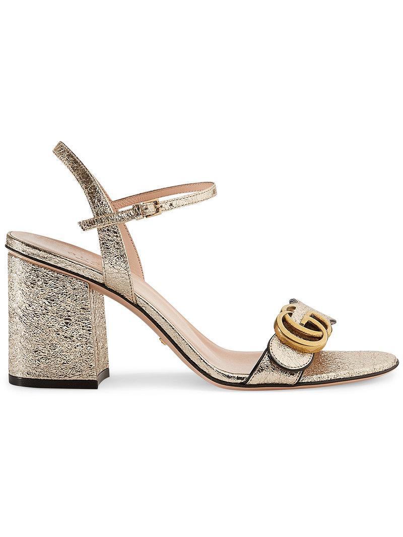 de2cccc12d0df6 Lyst - Gucci Metallic (grey) Laminate Leather Mid-heel Sandal in ...