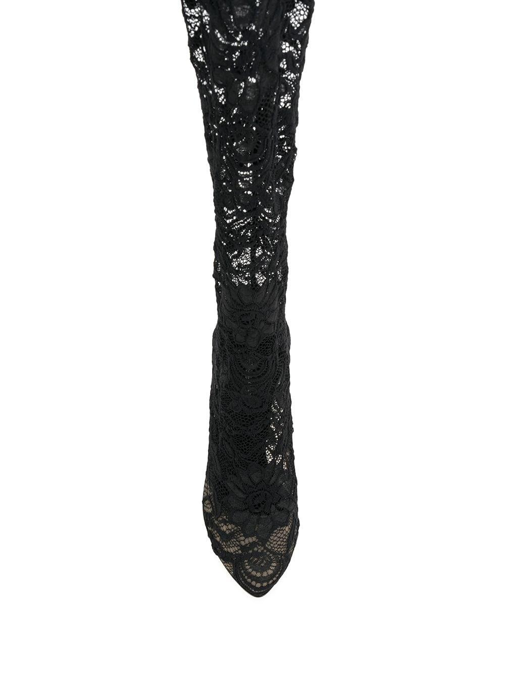 Dolce & Gabbana Lace Coco Thigh-high Boots in Black