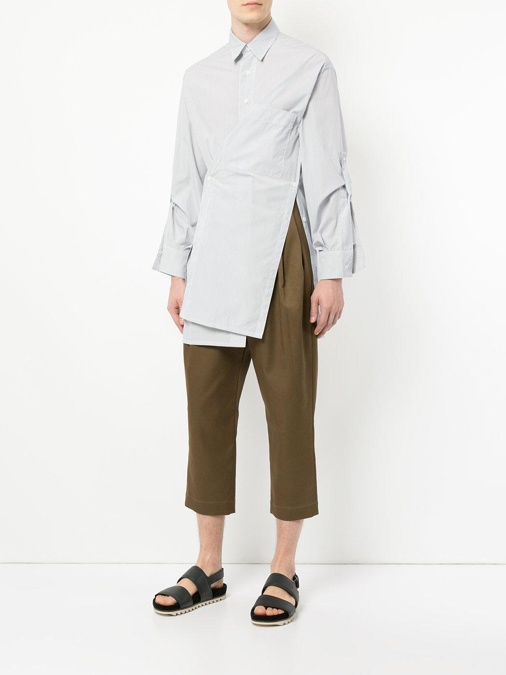 Lyst Hed Mayner Cropped High Waisted Trousers In Brown For Men