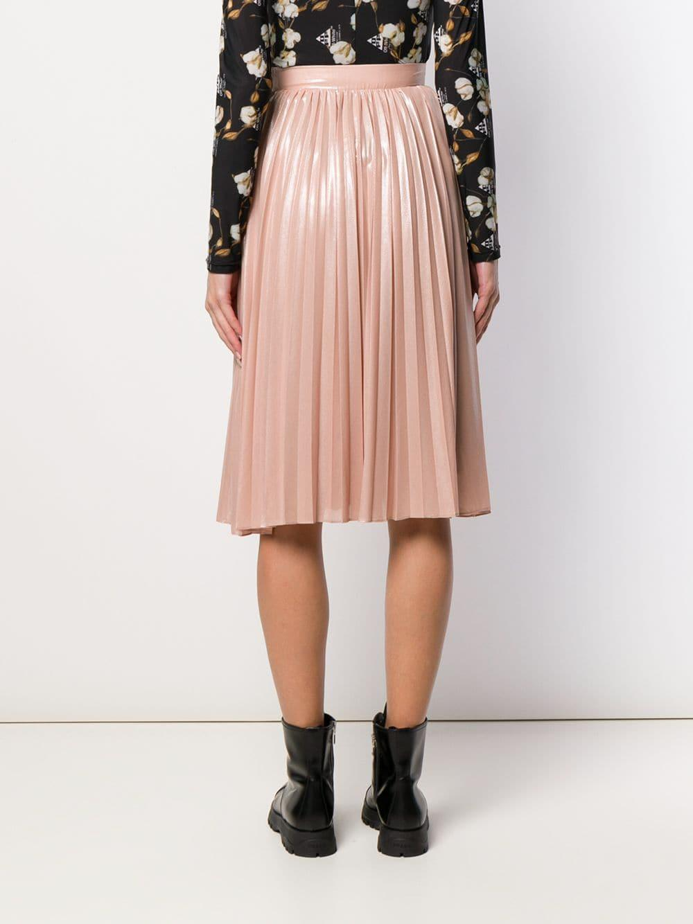 Falda midi plisada Pinko de color Rosa