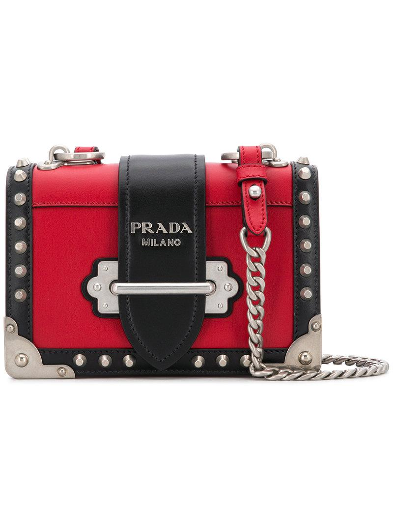 8751c666d5 ... netherlands prada. womens red small cahier studs city crossbody bag  8439a a047a