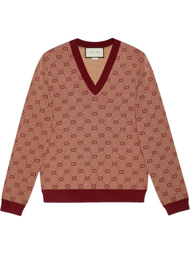 353cc35f3f2 Lyst - Gucci GG Jacquard Knit V-neck Jmper in Red for Men