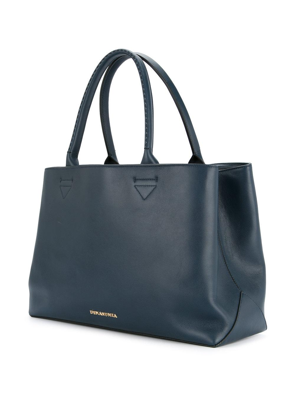 Demanumea Leather Printed Tote Bag In Blue Lyst