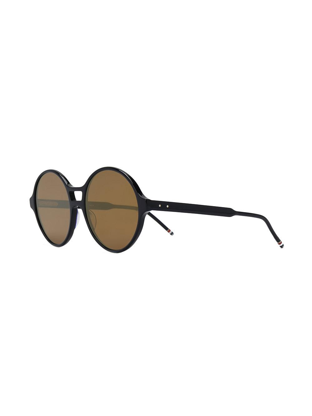 Thom Browne Round Frame Tinted Sunglasses in Black