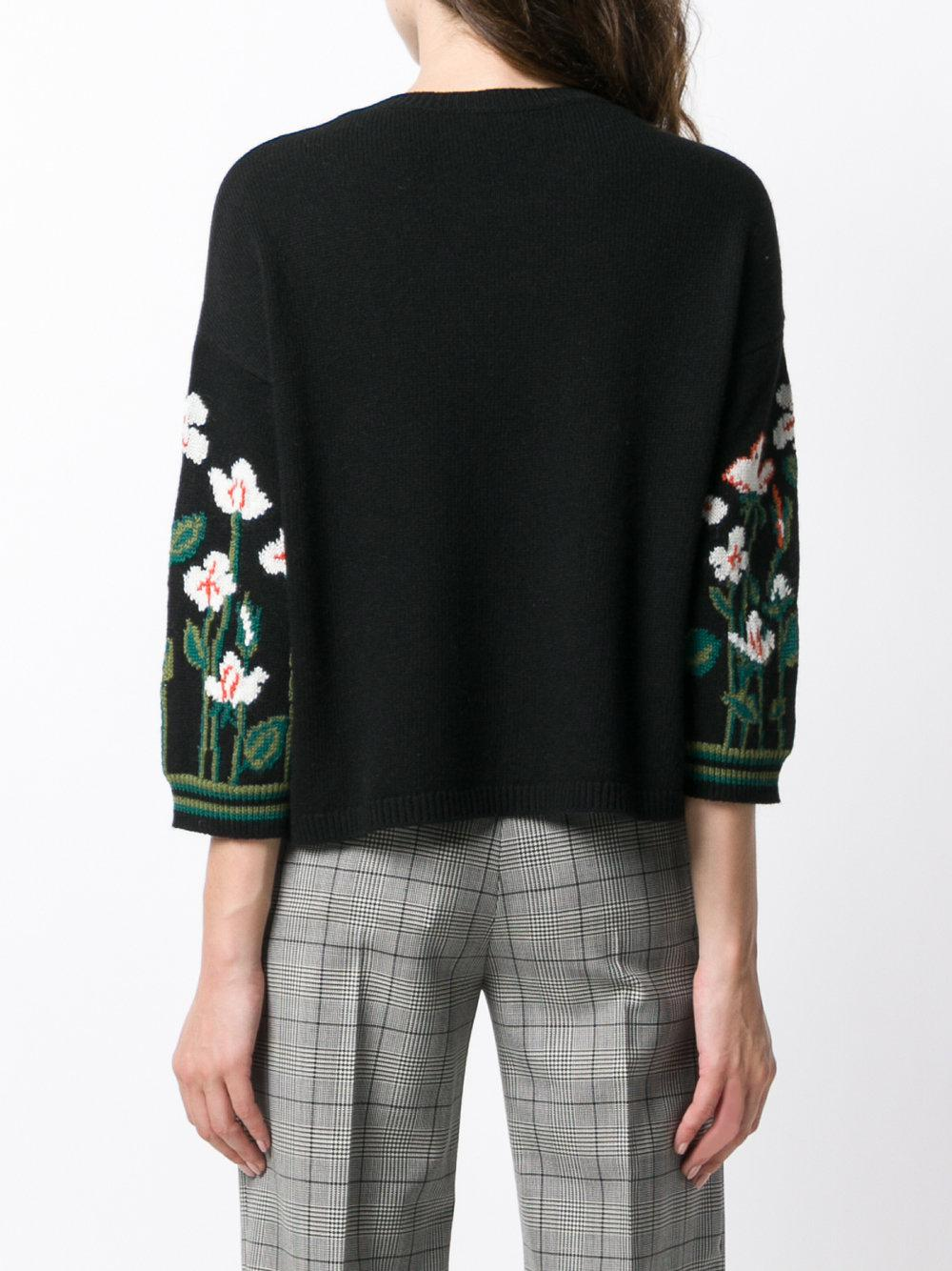 Quality Red Valentino floral three-quarter sleeve sweater 100% Authentic Outlet Discount Sale Visa Payment For Sale Clearance New Arrival HeXKQ1J