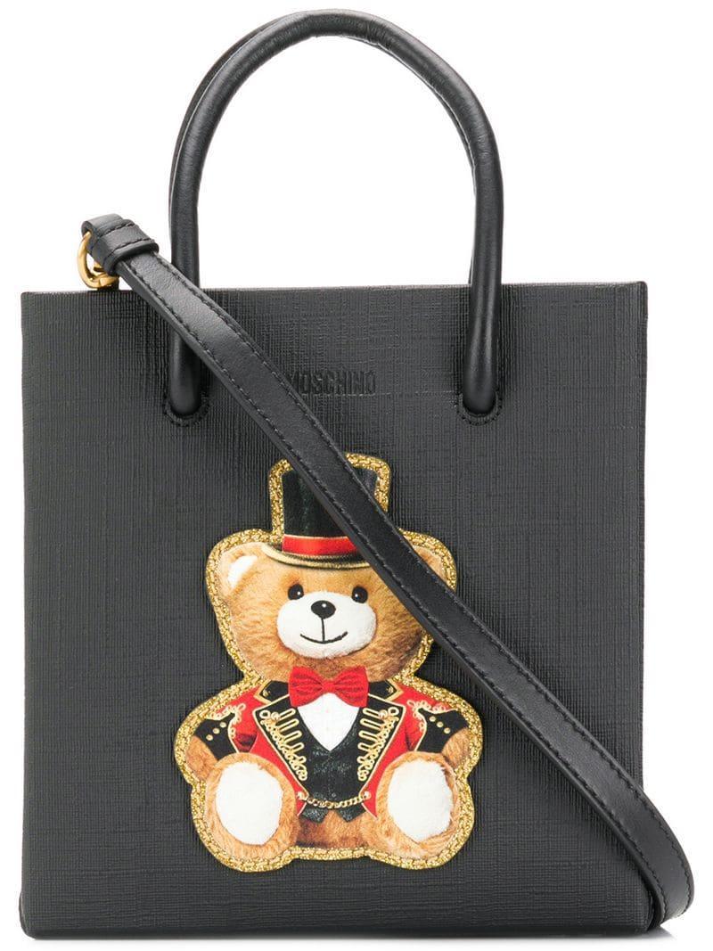 9da86f086a36c9 Moschino - Black Teddy Print Crossbody Bag - Lyst. View fullscreen
