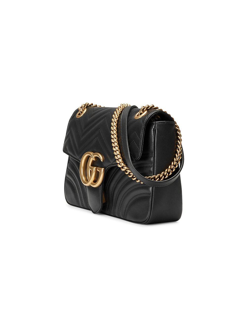 5db80843f713 Gucci - Black Gg Marmont Medium Matelassé Shoulder Bag - Lyst. View  fullscreen