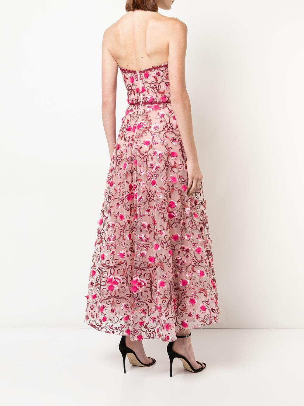 Marchesa Notte Pink Fl Embroidered Dress Lyst View Fullscreen