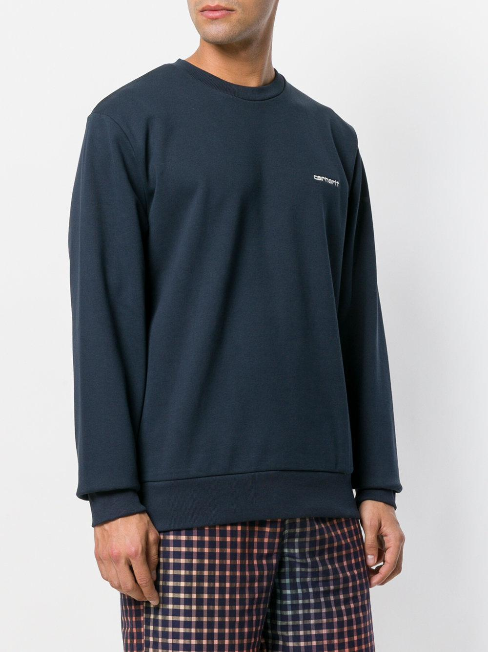 Carhartt Cotton Embroidered Logo Sweatshirt in Blue for Men