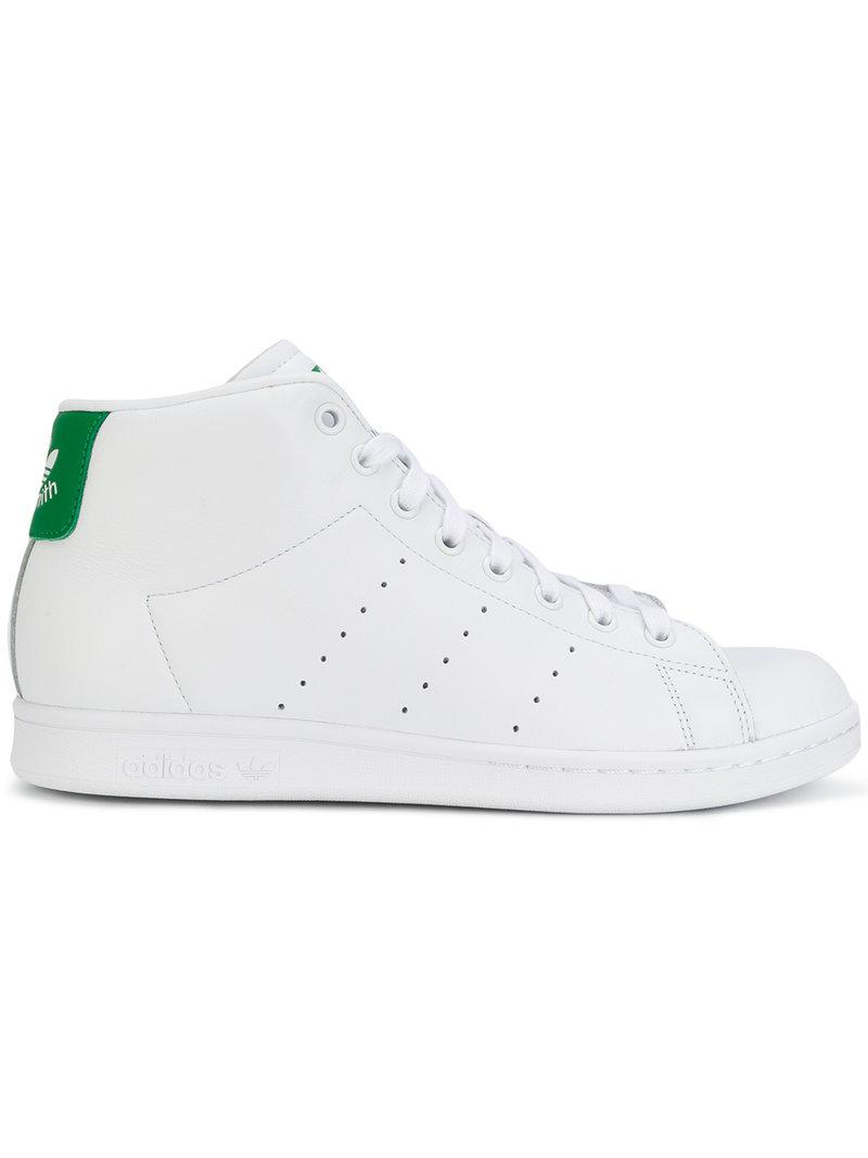 adidas Leather Stan Smith Mid Sneakers in White for Men - Lyst