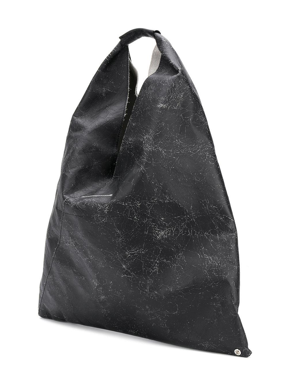 MM6 by Maison Martin Margiela Leather Oversized Tote in Black