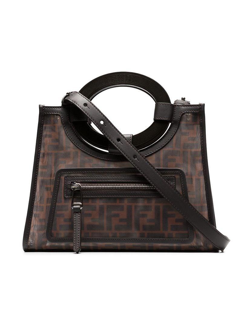 be1206225f35 Lyst - Fendi Brown Runaway Small Logo Mesh Tote Bag in Brown