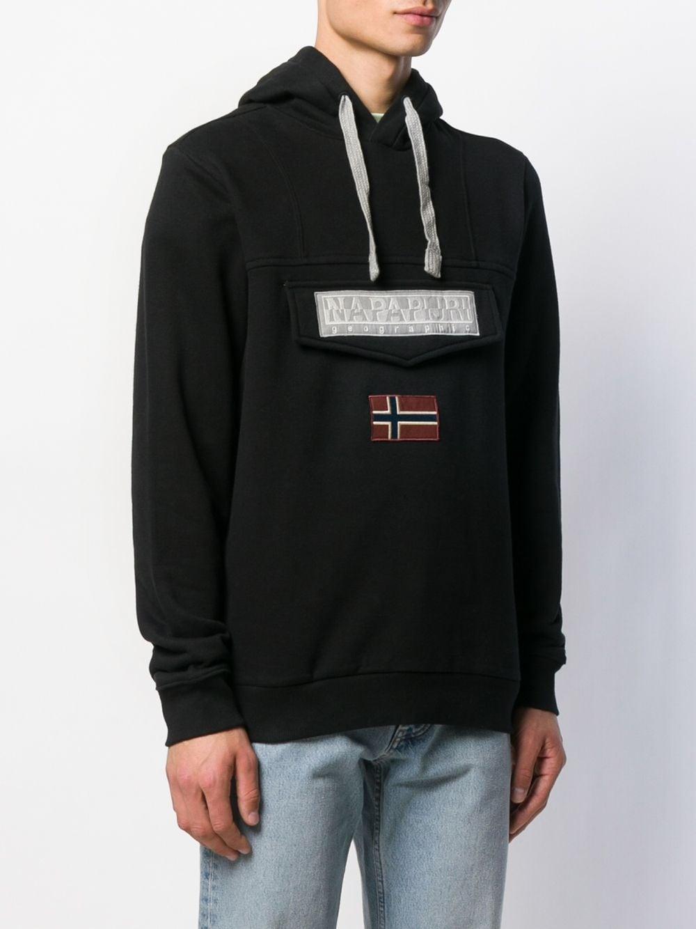 Napapijri Fleece Hoodie Met Logopatch in het Zwart voor heren