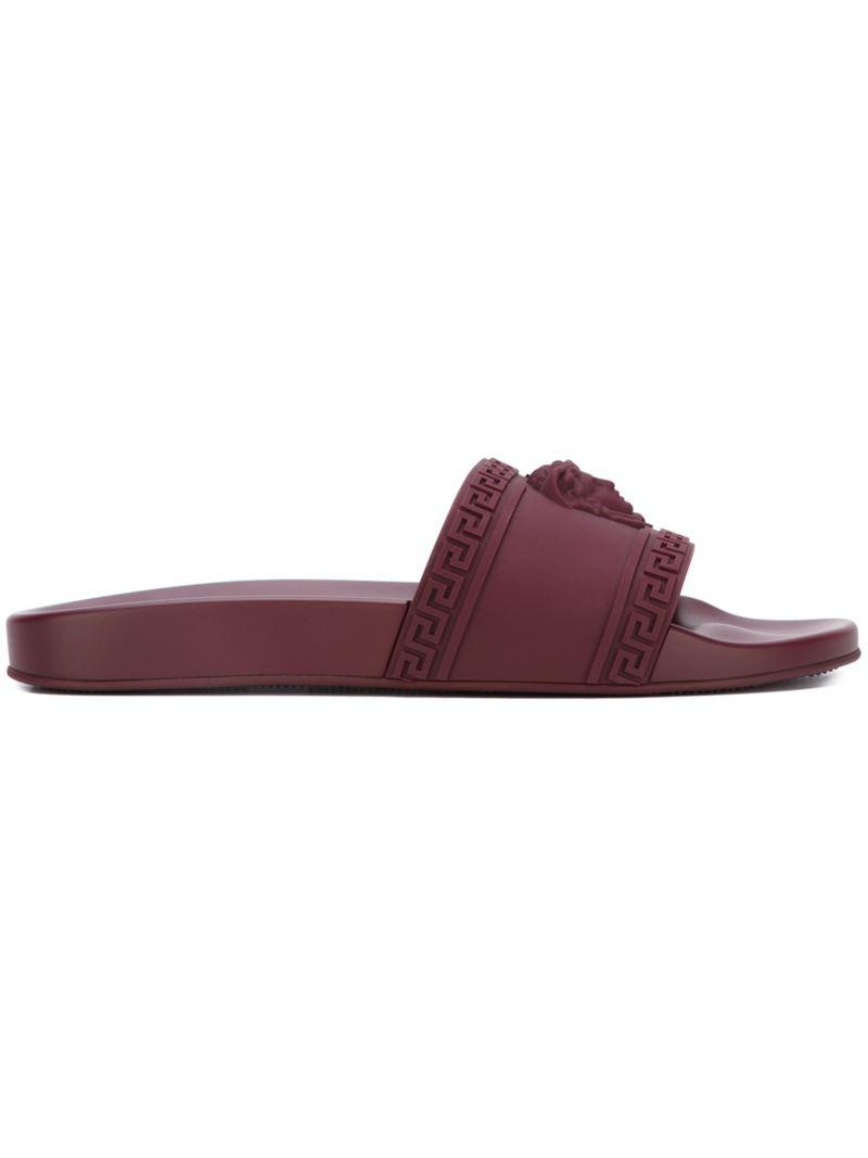 Versace Palazzo Medusa Sliders In Red For Men Lyst