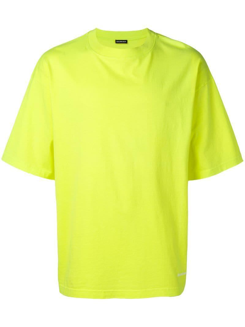 211e13d4 Lyst - Balenciaga Logo Embroidered T-shirt in Yellow for Men - Save 30%