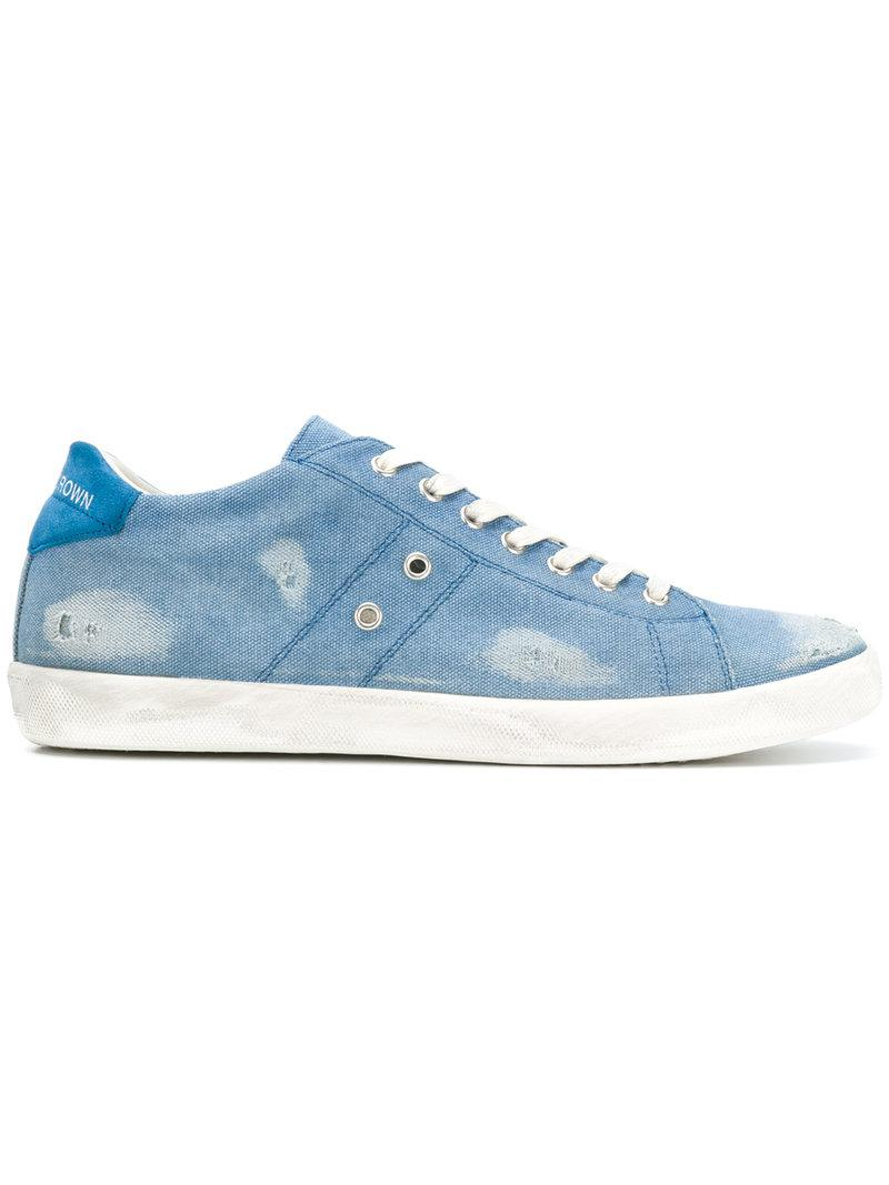 Leather Crown Distressed sneakers 5dTVJsBE84