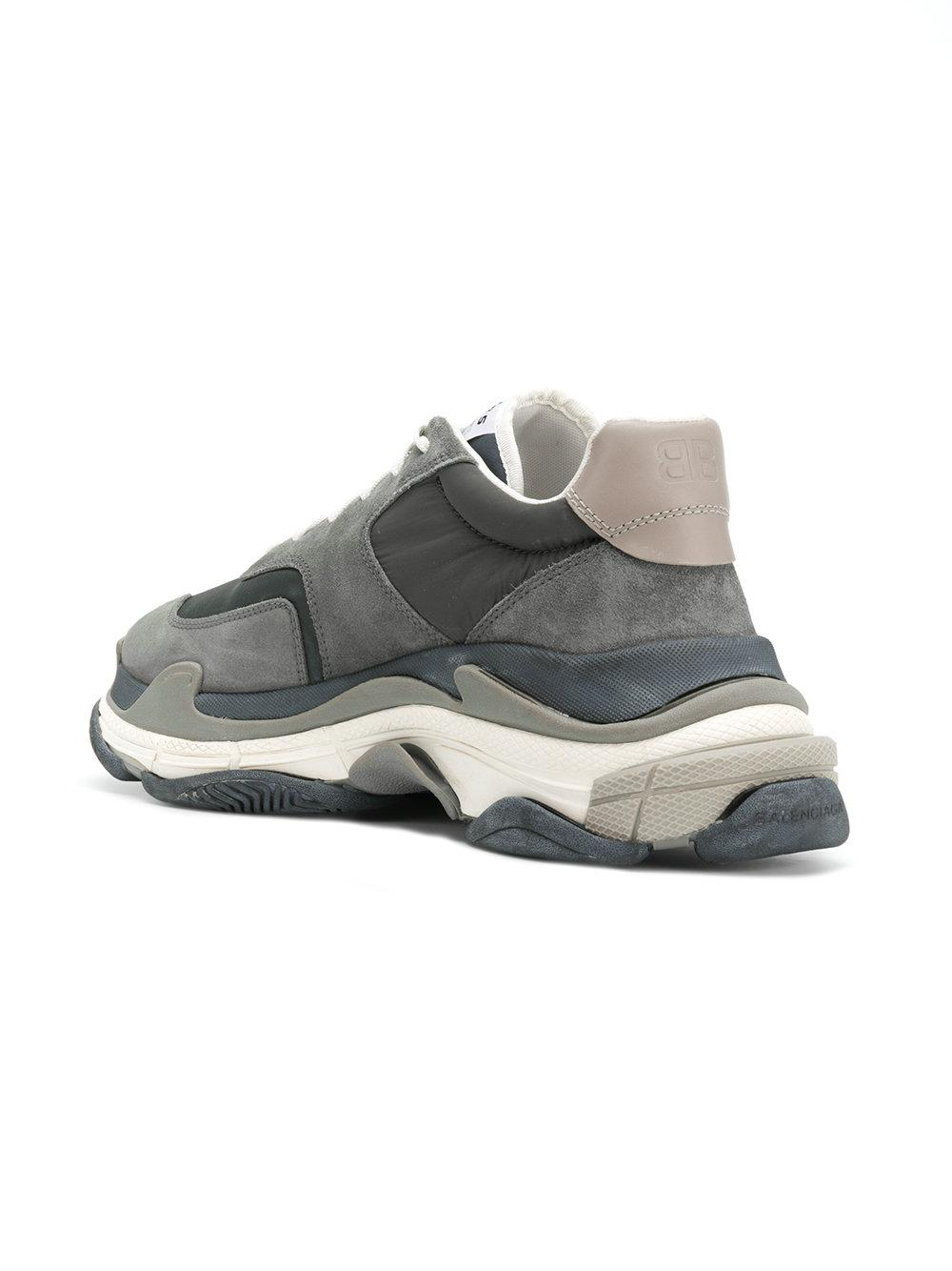Balenciaga Leather Triple S Sneakers in Grey (Gray) for