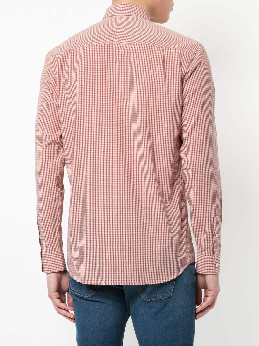 Gieves & Hawkes Katoen Geruit Button-down Overhemd in het Rood voor heren