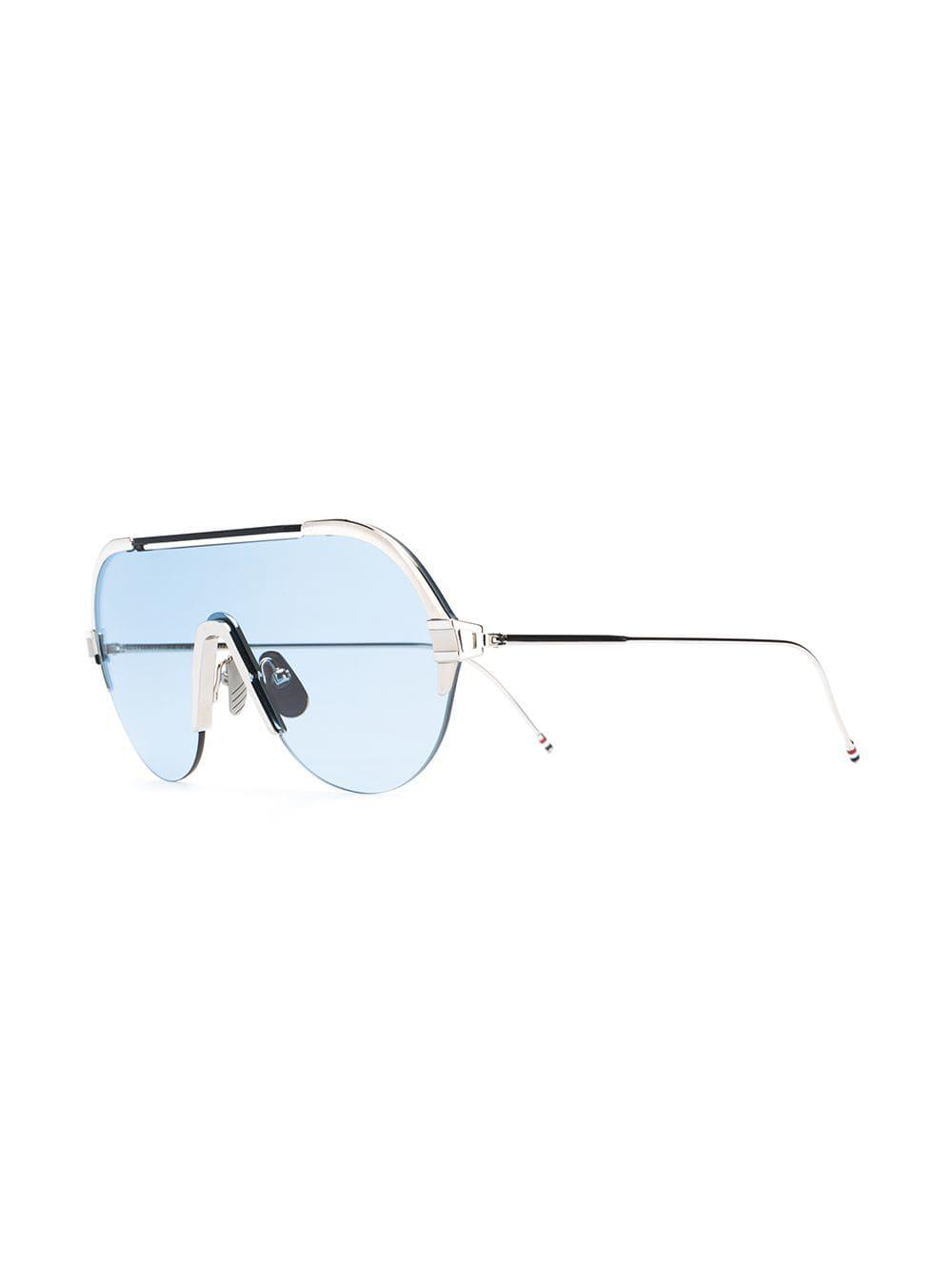 ade78c01f3 Lyst - Thom Browne Silver   Navy Sunglasses in Metallic for Men