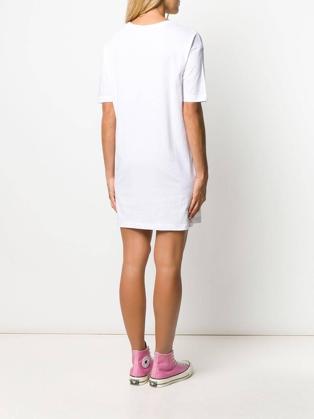 Vestido estilo camiseta con motivo de corazón Love Moschino de Algodón de color Blanco