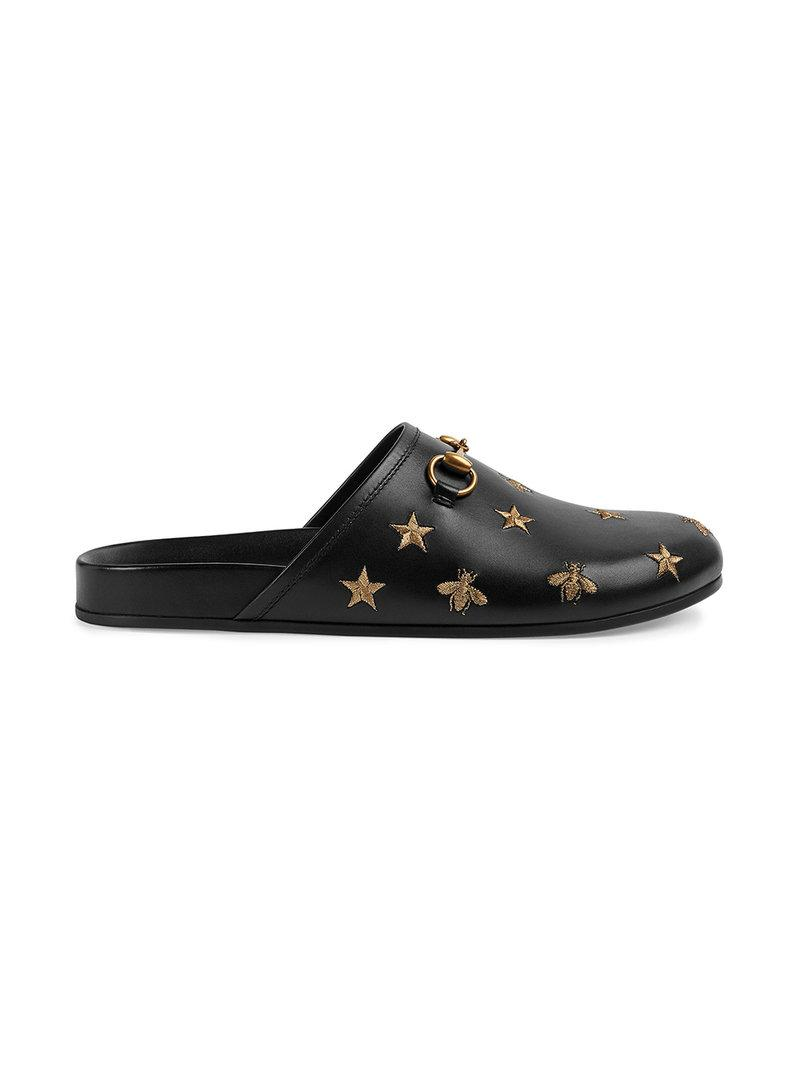 15f802d9e02 Gucci Horsebit Embroidered Leather Slipper in Black for Men - Lyst