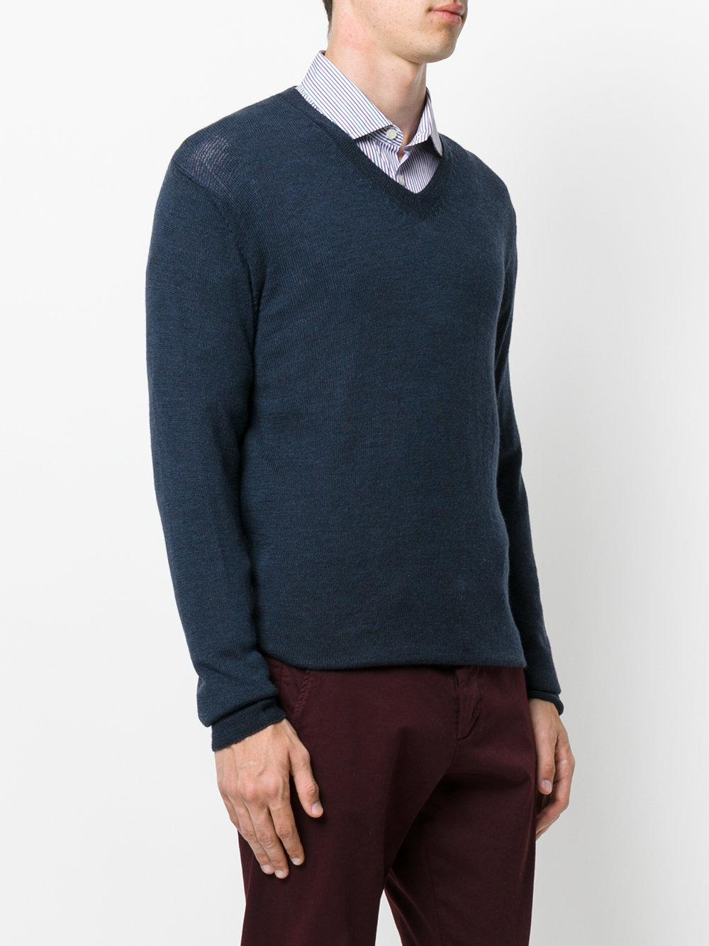 Etro Wool Classic V Neck Sweater in Blue for Men