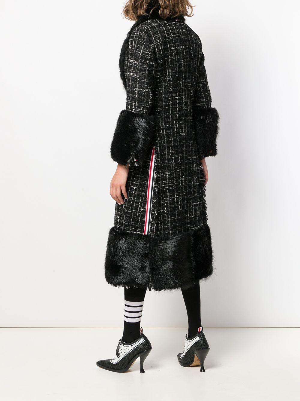 Sobretodo de tweed a cuadros Thom Browne de color Negro