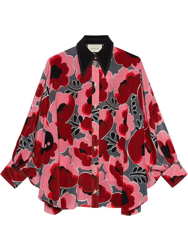 e3980446 Gucci Poppies Silk Shirt With Bow in Red - Save 11.538461538461533 ...