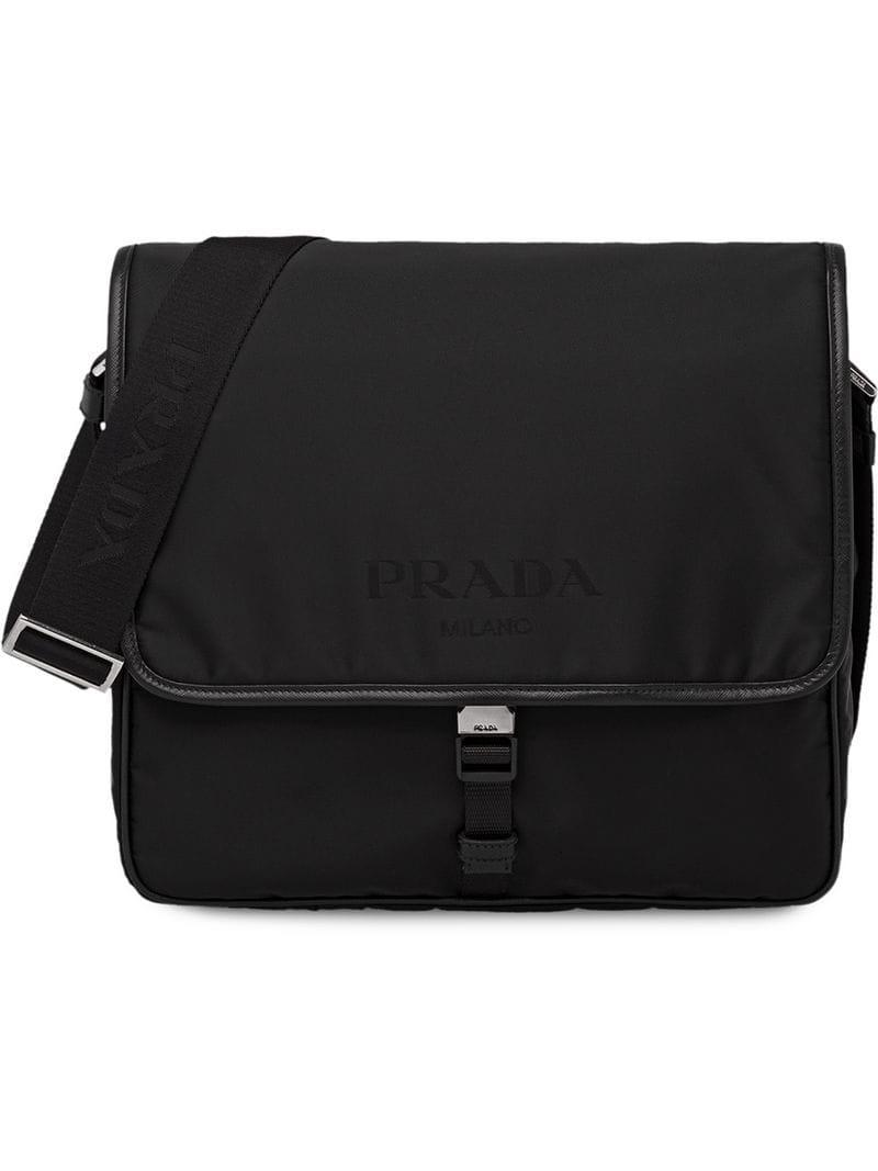 f33443208002 ... aliexpress real prada logo shoulder bag in black for men lyst 4332c  f6a06 8d20d c6270