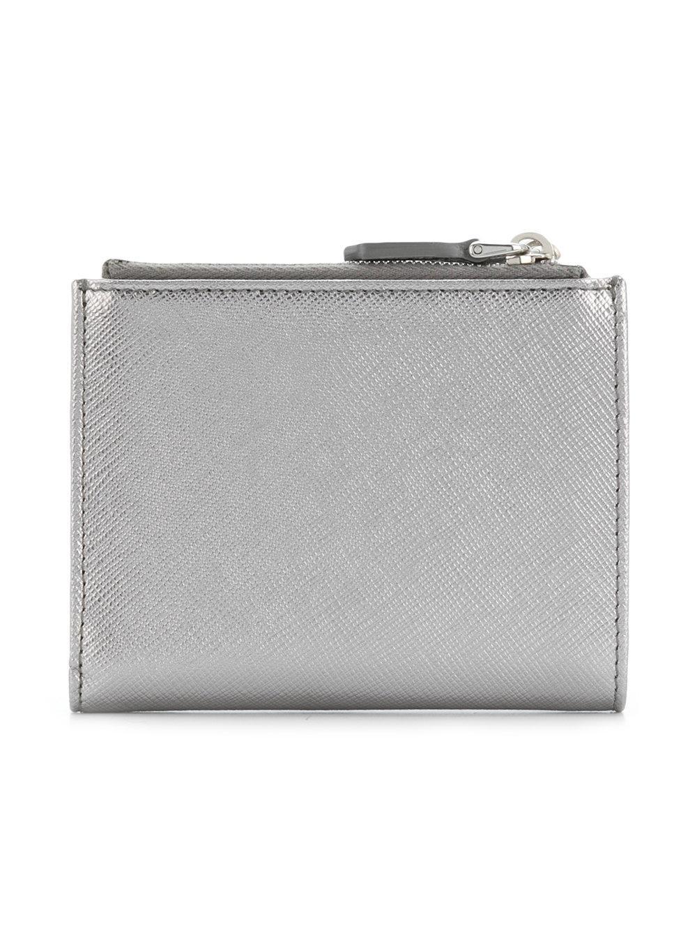0356350a2430 Lyst - Prada Logo Plaque Bifold Wallet in Metallic