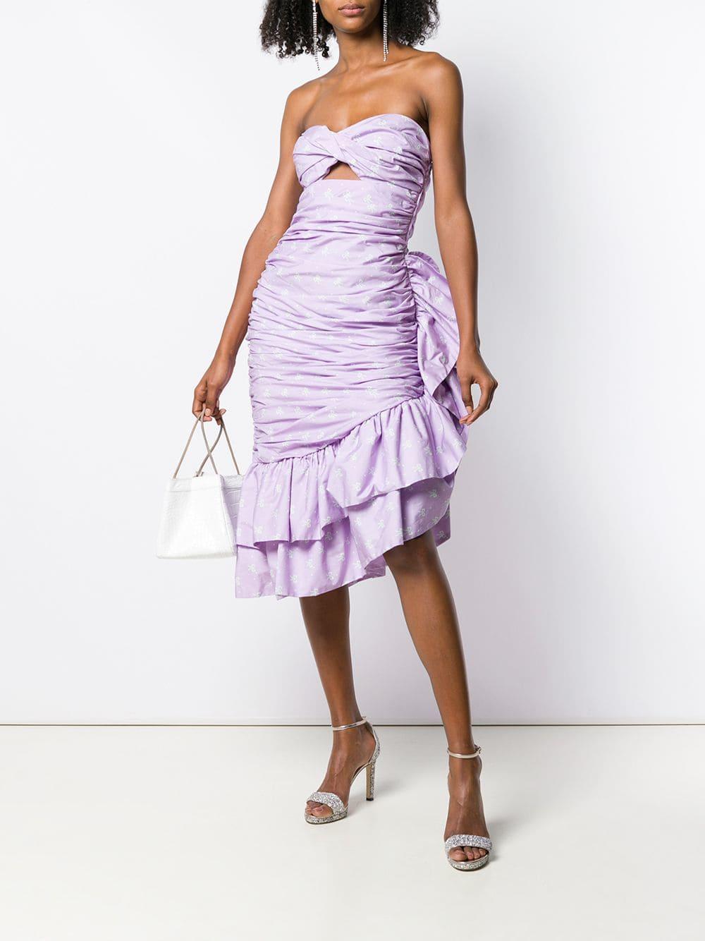 529f242e168 Vivetta Strapless Ruffle Dress in Purple - Lyst