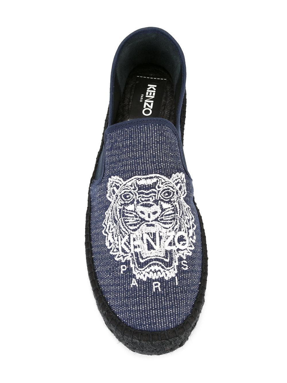KENZO Cotton Tiger Espadrilles in Blue for Men