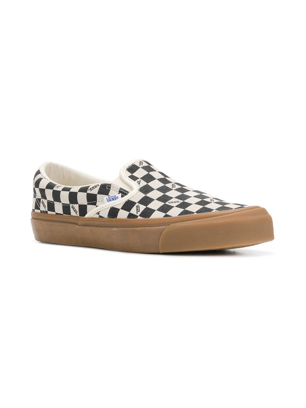Vans Cotton Checked Slip-on Sneakers in Black