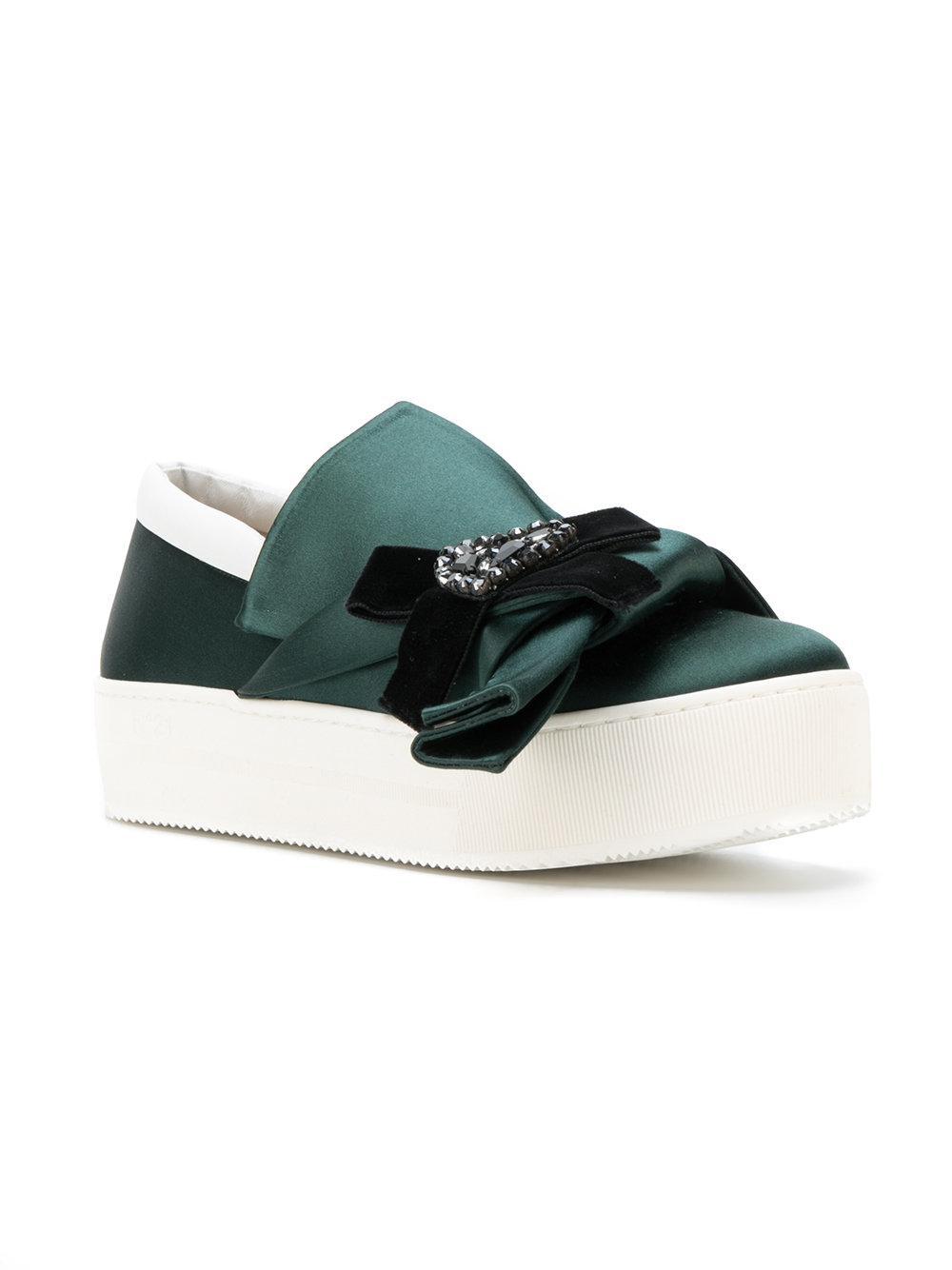 N°21 Velvet Embellished Bow Slip-on Sneakers in Green