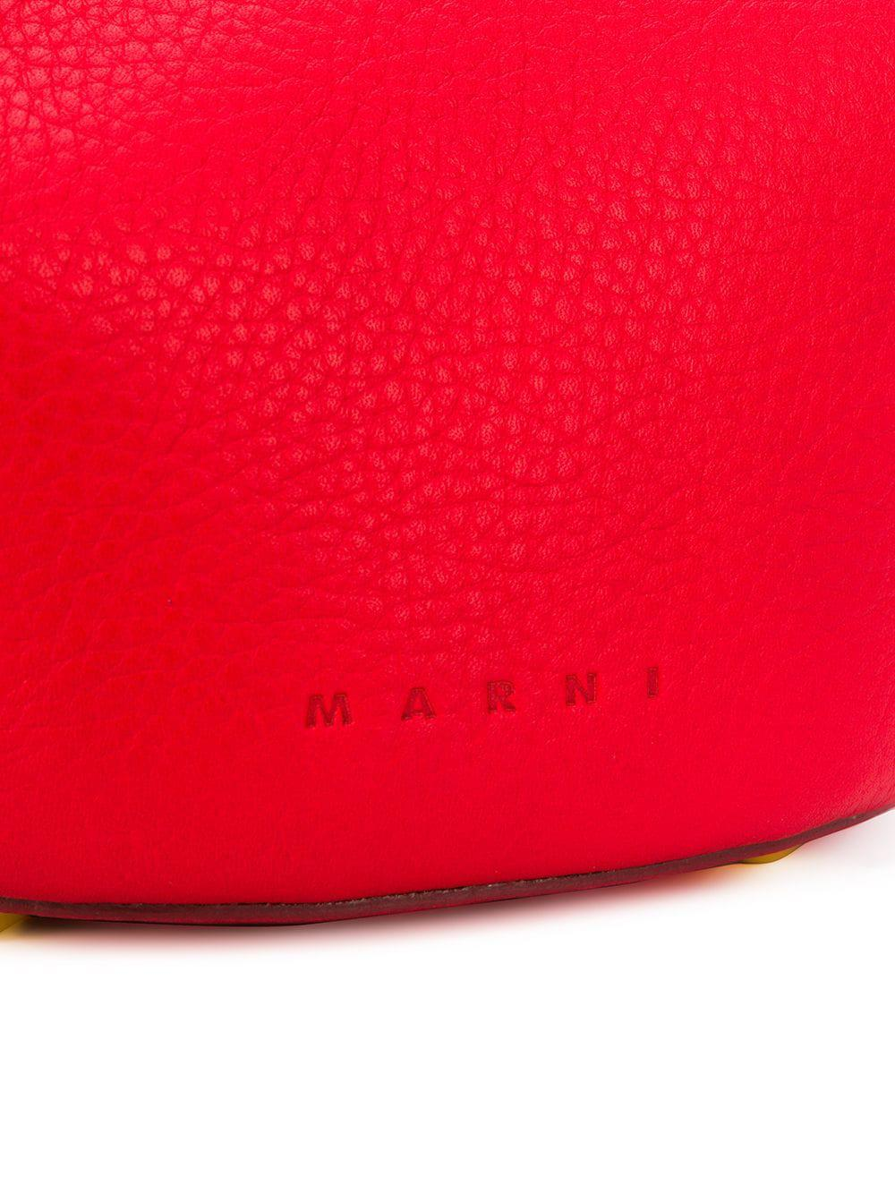 Marni Leather Pannier Tote Bag in Red