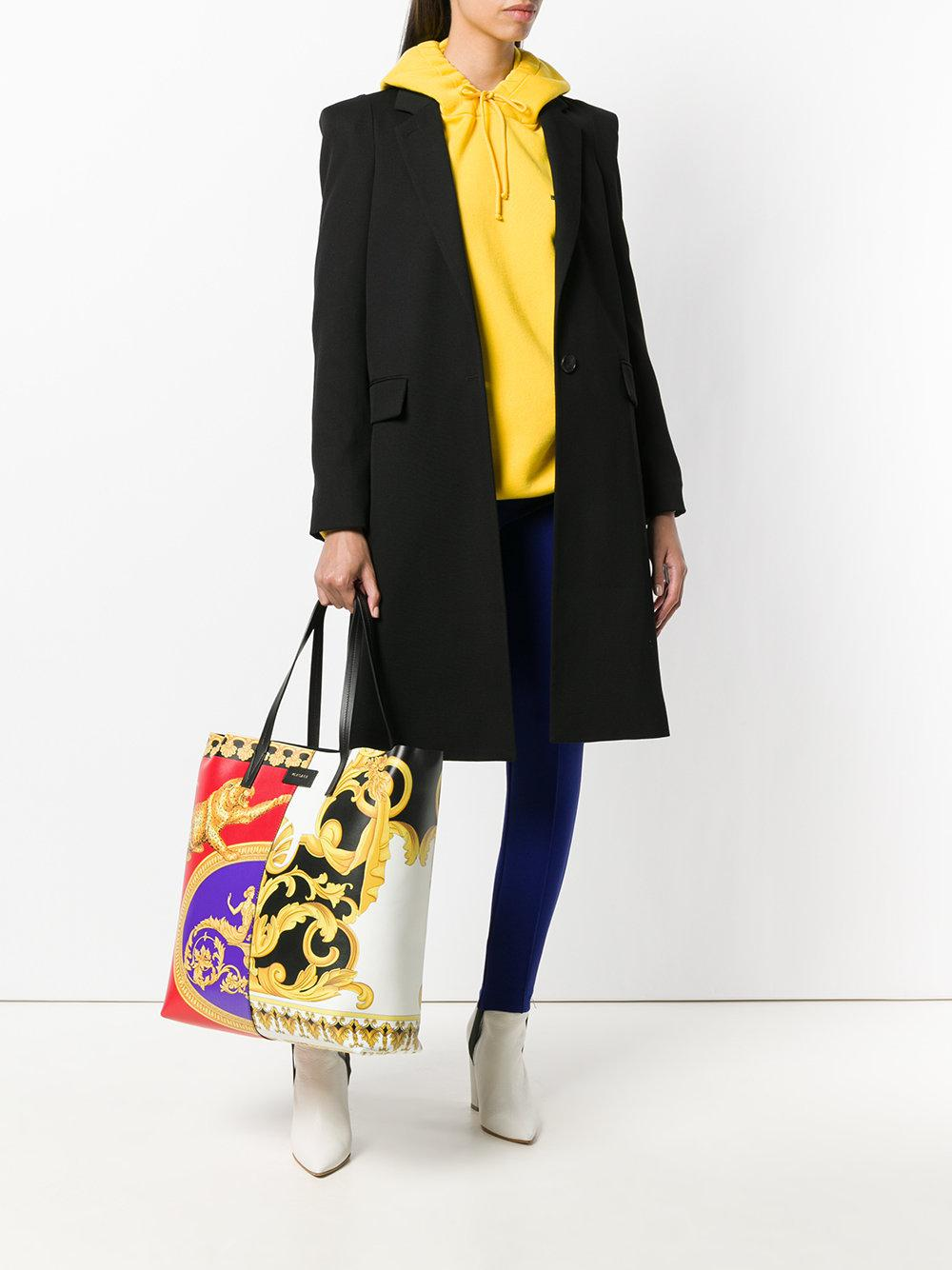 Versace Leather Pillow Talk-barocco Mix Print Tote Bag in Black