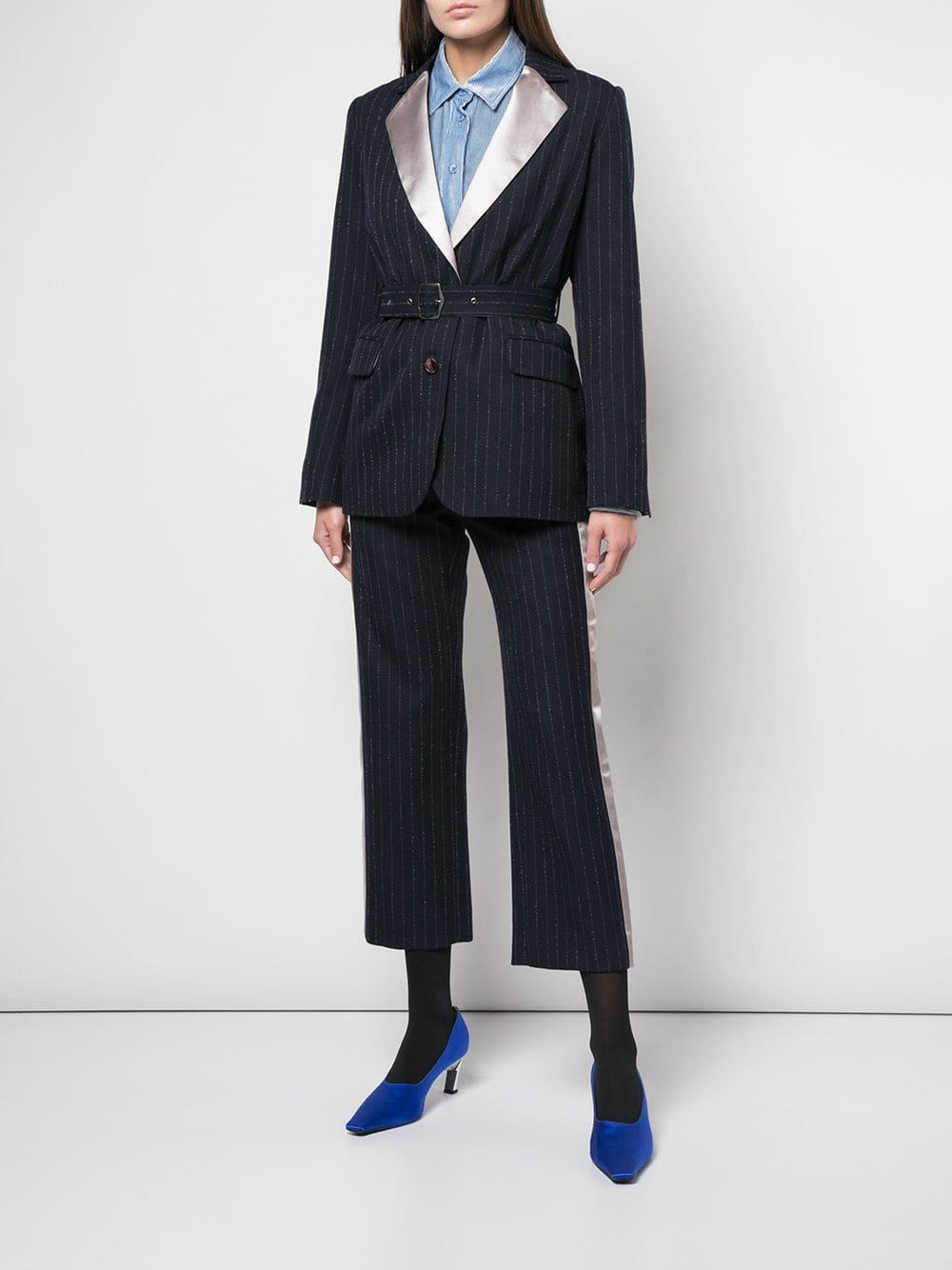 Blazer Terry a rayas diplomáticas con cinturón Sies Marjan de Lana de color Azul