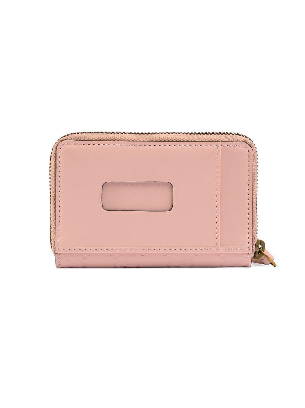 4b22da95de4 Lyst - Gucci Signature Card Case With Cat in Pink